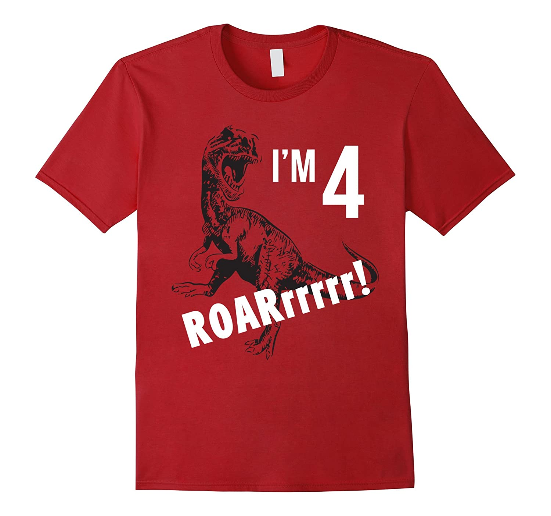 Birthday Boy Shirt for 4 Year Old 4th Birthday Gift Dinosaur-RT