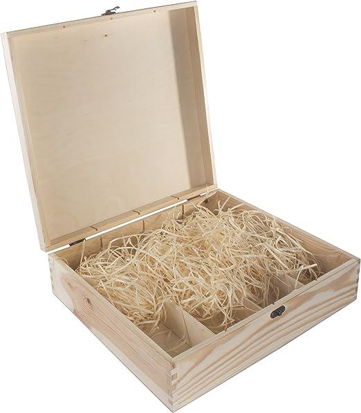 Caja de vino de 4 botellas de madera lisa, bisagras y cierre de metal, caja de regalo sin tratar, 39 x 35 x 11 cm: Amazon.es: Hogar