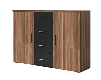 Sideboard nussbaum schwarz  Kommode Sideboard VERA (nußbaum rot / schwarz): Amazon.de: Küche ...