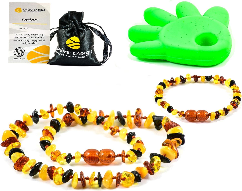 AmberJewellery Collar (32cm) de Ambar + Pulsera (14cm) - De la Máxima Calidad Certificado Genuino Collar de Ámbar Báltico/Rápido Entrega / 100 Días de Garantía de Devolución de Dinero! (Multi)