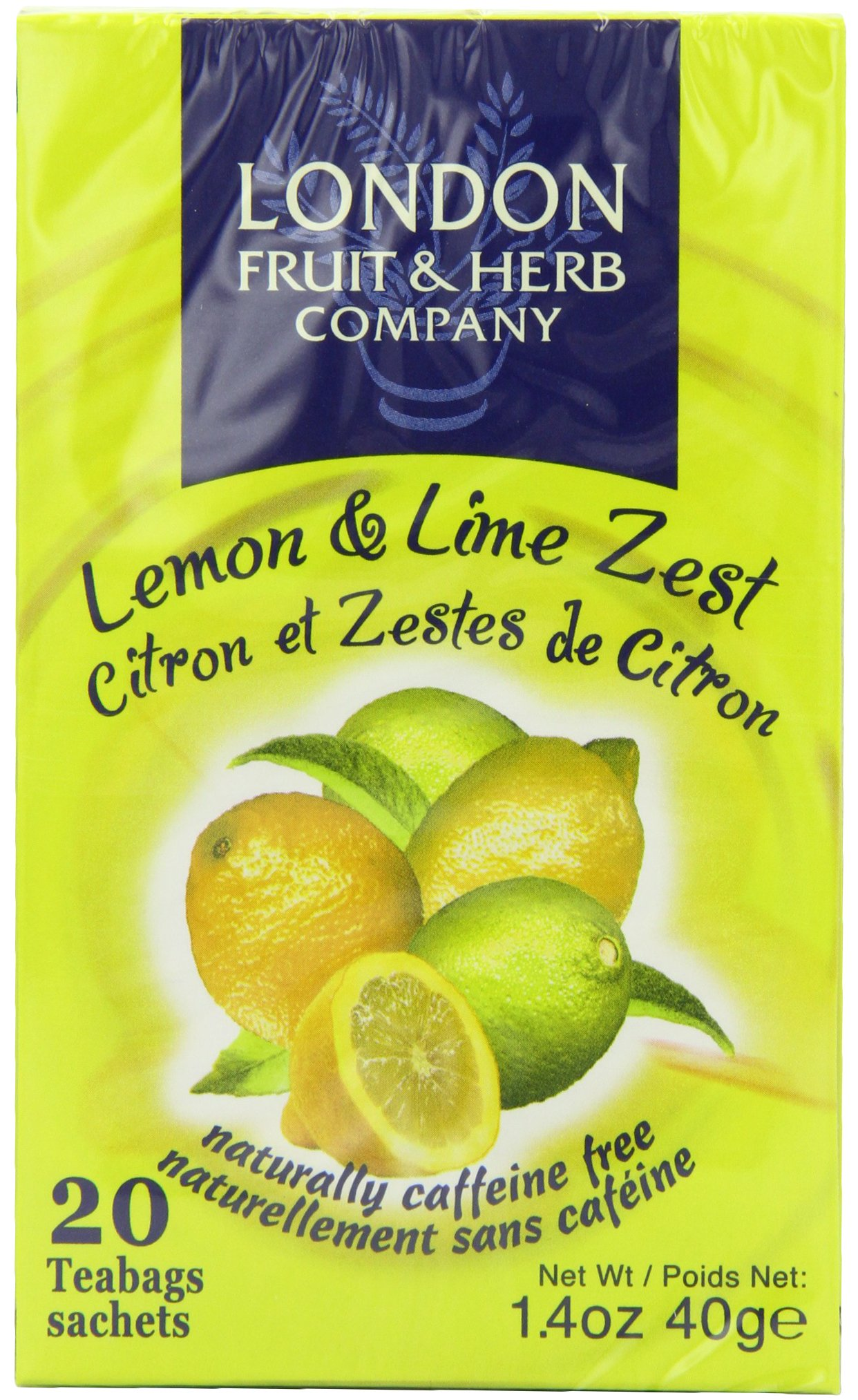 London Fruit and Herb Lemon and Lime Zest 20 Teabags (Pack of 6, Total 120 Teabags)