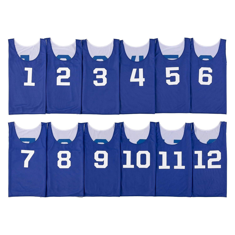 ATHLETIC MART ビブス(リバーシブル)1~12番 裏表前後ろ番号あり 12枚セット ロイヤルブルー(青色)