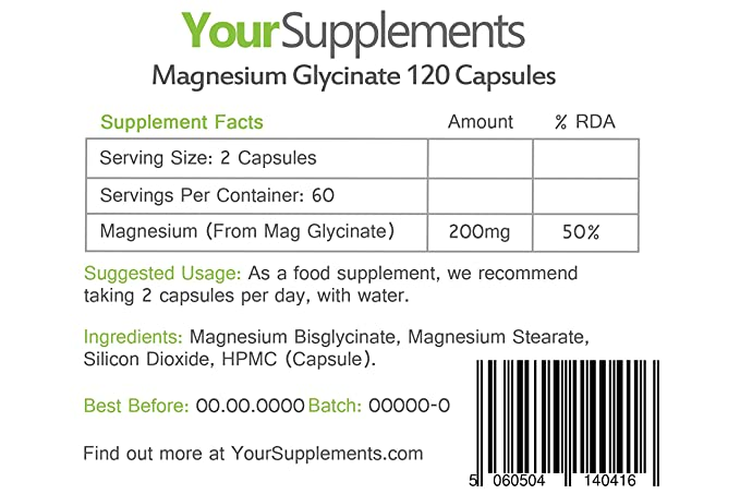Your Supplements - Glicinato de Magnesio - 120 Cápsulas: Amazon.es: Salud y cuidado personal