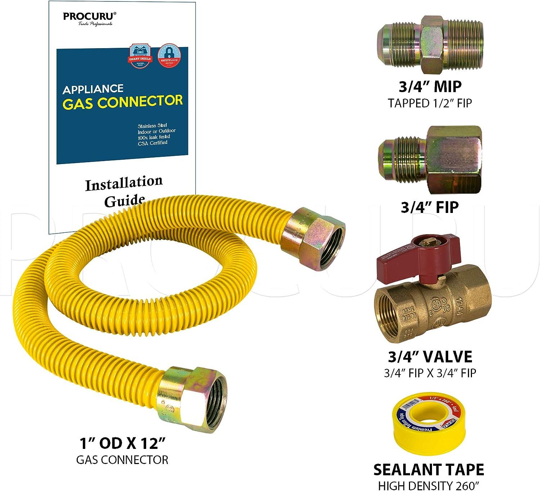 """1/"""" OD 3//4/"""" ID x 48/"""" w// 3//4/"""" MIP x 3//4/"""" FIP Tankless Water Heater Gas Flex Line"""