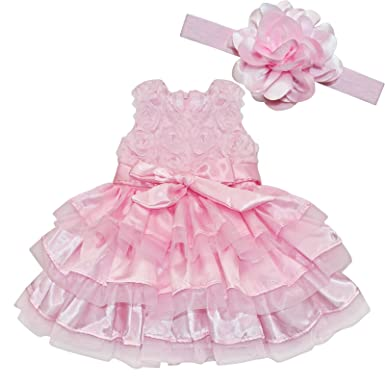 8f86e1b78 iEFiEL Baby Girls Princess Rosette Tutu Dress Wedding Baptism Christening  Gown With Flower Headband