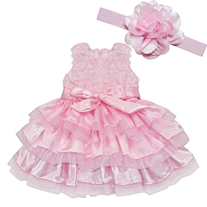IEFiEL Baby Girls Rosette Tunic Princess Dress With Flower Headband Pink  Pink 6 12 Months