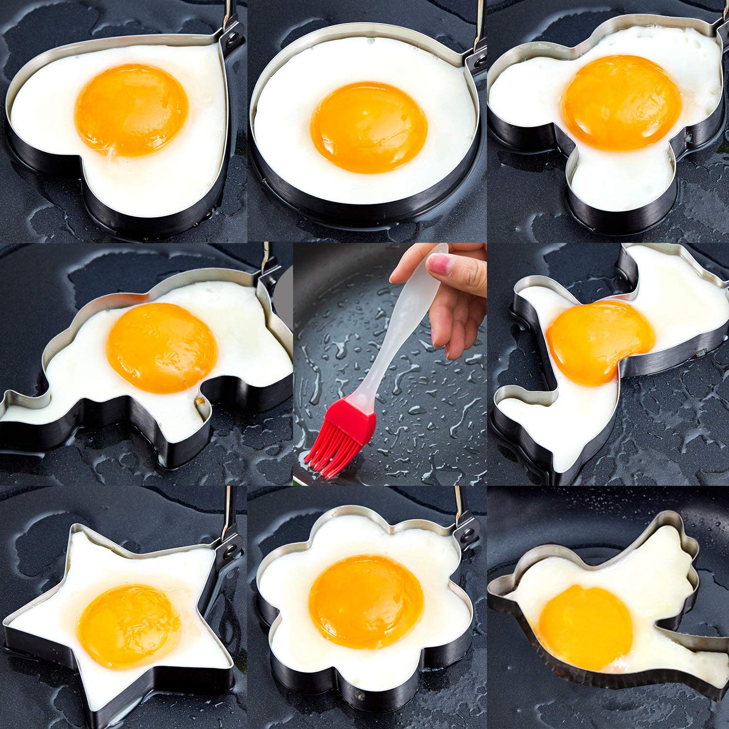 Egg poacher- 8pcs Different Shapes Stainless Steel Fried Egg Molds with 1pc Silicone Pastry Brush - Set of 9