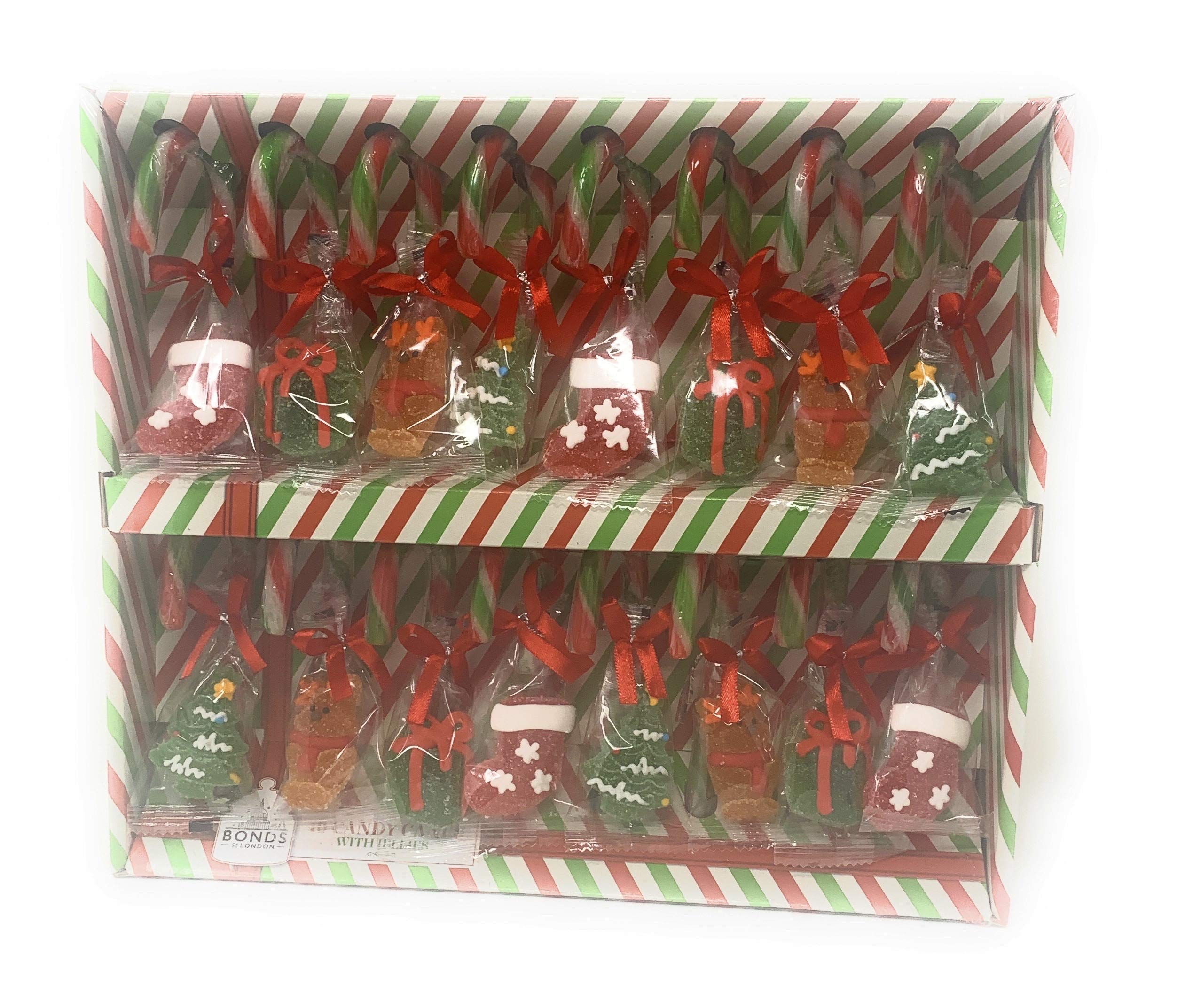 16 Peppermint Candy Canes with Jelly Figures Christmas Tree Decorations Bonds of London 352g