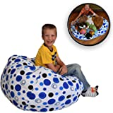 """EXTRA LARGE Stuff 'n Sit - The Stuffable Storage Bean Bag - Clean up Your Kid's Room and Put Those Stuffed Animals to Work for You! - By Creative QT (38"""", Blue Polka Dot)"""