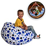 """Amazon Price History for:EXTRA LARGE Stuffed Animal Storage Bean Bag Chair - Clean up the Room and Put Those Critters to Work for You! - By Creative QT (38"""", Blue Polka Dot)"""
