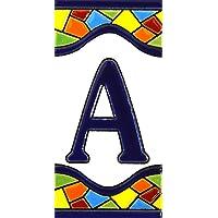 Borden met cijfers en nummers op veelkleurige keramische tegels. Handgeschilderde koordtechniek voor borden met naam…