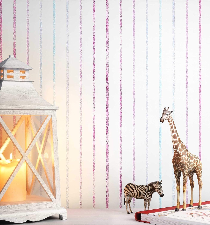 NEWROOM Kindertapete Creme Streifen Kinder Papiertapete Rosa Wei/ß sch/öne moderne edle
