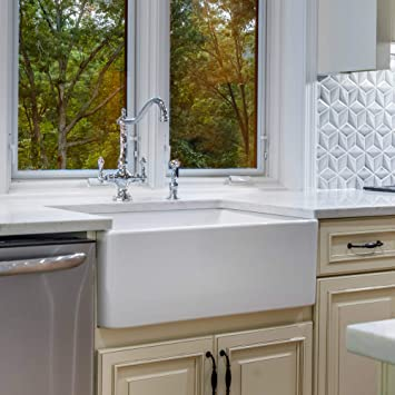 Fireclay Sink 33 Apron Front Farmhouse Kitchen Sink Solid Not Hollow Single Bowl Sinks Amazon Com