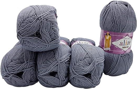 Ovillo de lana de punto A✄ Ovillo de algodón (5 x 100 g, 55% algodón, 500 g), color dorado: Amazon.es: Hogar