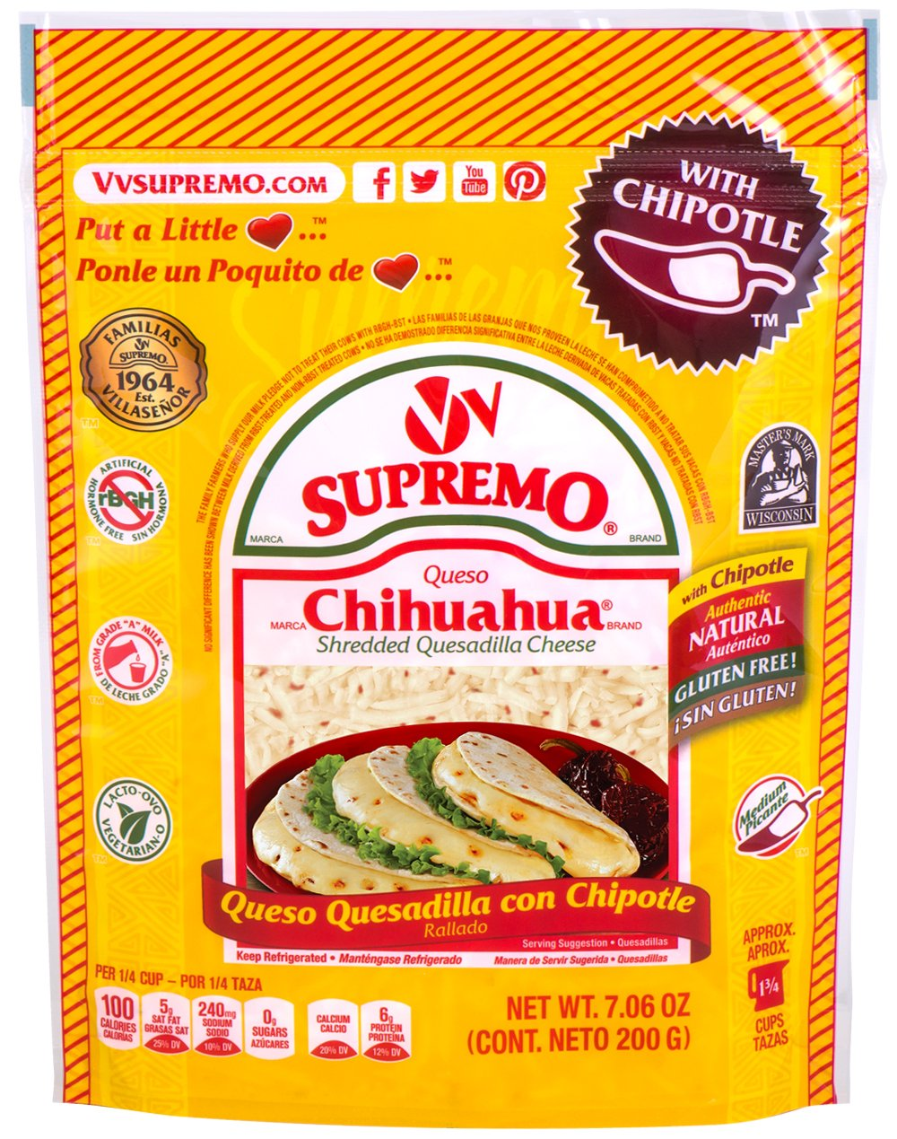 V&V Supremo, Shredded Chipotle Cheese, 7.06 oz