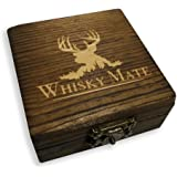 Whisky Stones - Set of 6 Pure Soapstone Beverage Chilling Rocks - Keeps Your Drink Ice cold With No Water Dilution - Includes Beautiful Wooden Gift Box & Velvet Pouch for Refrigerating