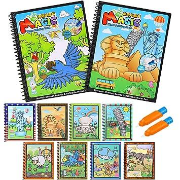 BBLIKE Juguete de Pintura mágica del Agua, 2 Reutilizable Libro de Dibujo de Agua para