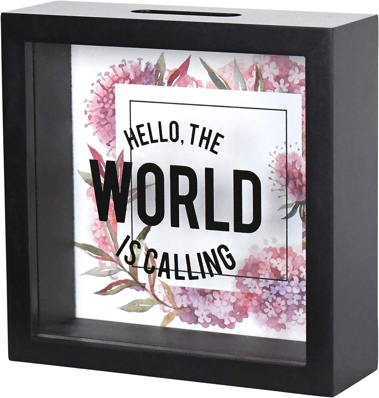 Multi Red PRINZ Wooden 6x6 World Adventure Fund Glass Front Shadowbox Bank