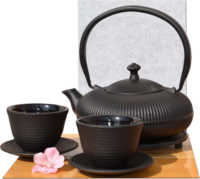 Tazas Trivet /& Tetsubin Cast Iron Mountain Zen Negro Tetera Tetera 0.8 Litros Estilo Japon/és Gifts Of The Orient GOTO/®