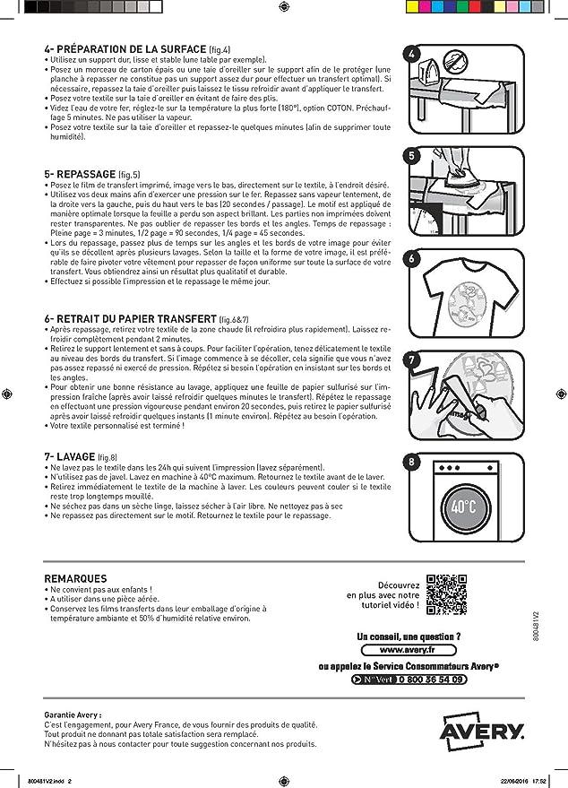 Avery Zweckform C9405-8 - Papel de transferencia térmica para tejidos (6 unidades), color blanco: Amazon.es: Oficina y papelería