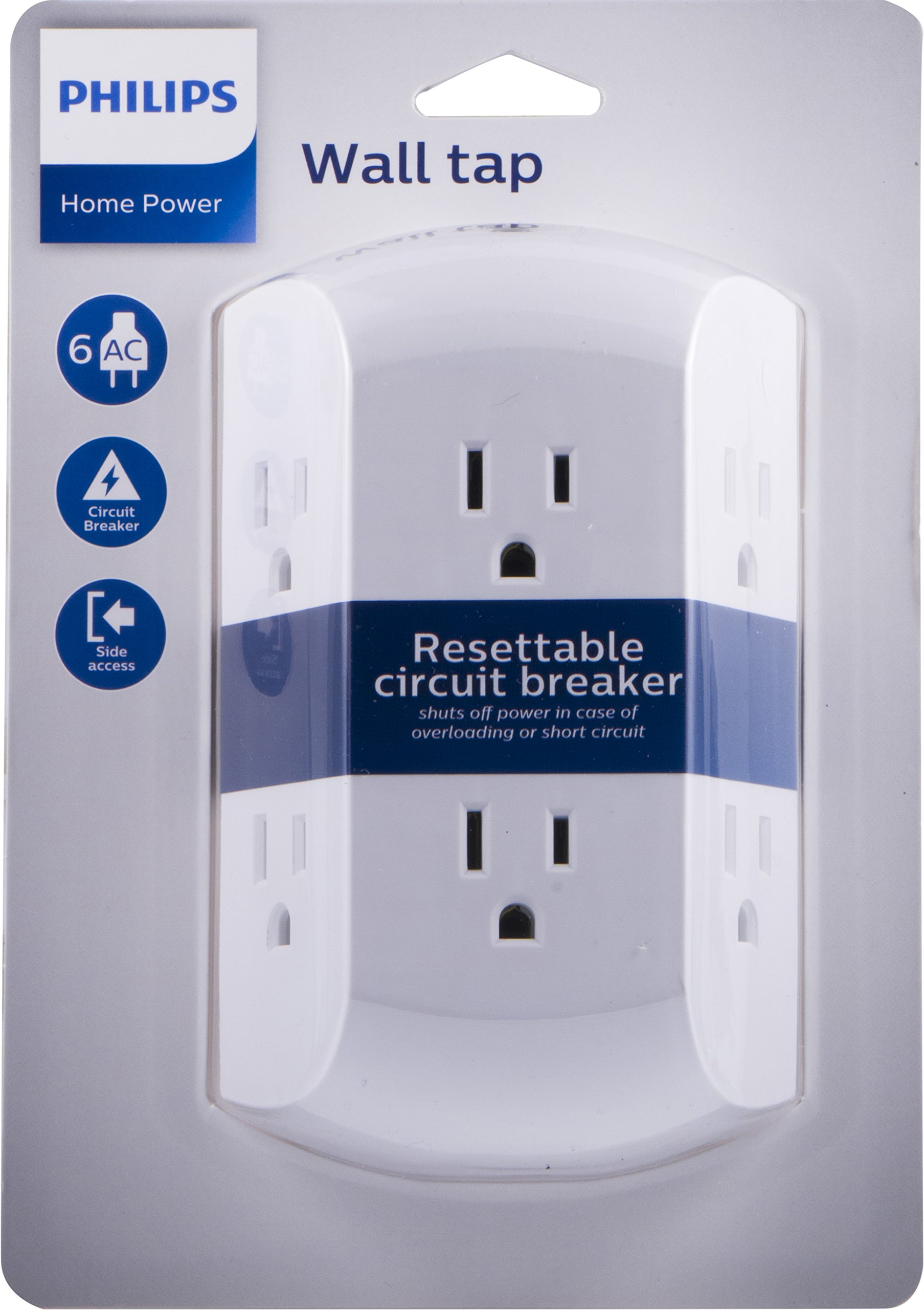 Philips 6 Outlet Wall Charger Resettable Circuit Breaker Grounded Short Multi Side Access Space Saving Design Tap White Sps1460wa 37