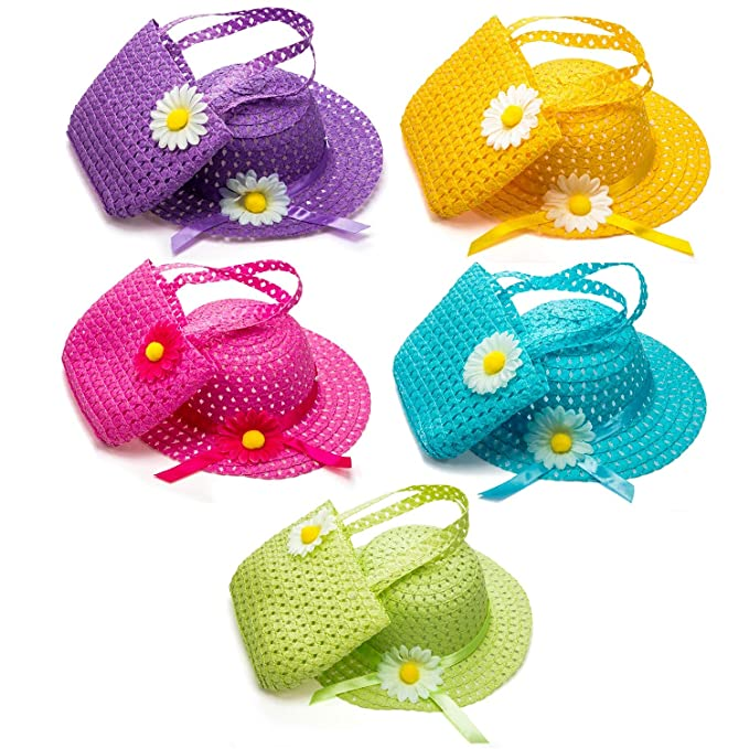 Zhanmai 9 Sets Girls Tea Party Hats Purse Daisy Flower Sun Straw Hat and Purse Sets Includes 9 Purses 9 Daisy Flower Sunhats 9 Colors