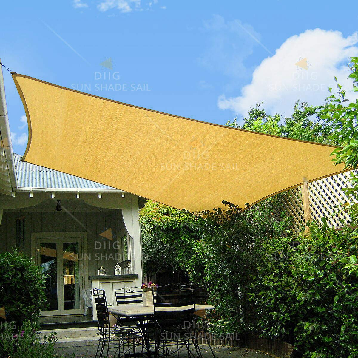 diig Patio Sun Shade Sail Canopy, 8 x 12 Rectangle Shade Cloth UV Block Sunshade Fabric – Outdoor Cover Awning Shelter for Pergola Backyard Garden Yard Sand Color