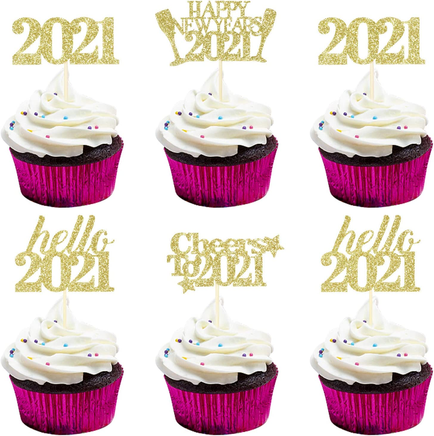 Hello 2021 Happy New Year 2021 Cheers to 2021 Cupcake Toppers Cake Food Picks - New Years Eve Party Supplies 2021,Happy New Year Party Decorations 2021