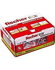 FISCHER Taco DuoPower 6x30 (Caja de 100 Ud.), 555006, Gris/Rojo, 6 x 30 mm, Set Piezas