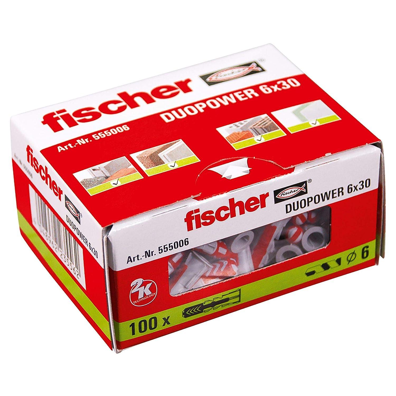 FISCHER Taco DuoPower 8x40 Caja de 100 Ud. Set Piezas 555008 Gris 8 x 40 mm