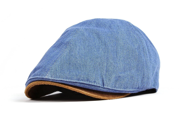 WITHMOONS Denim Newsboy Hat Faux Leather Brim Flat Cap SL3017