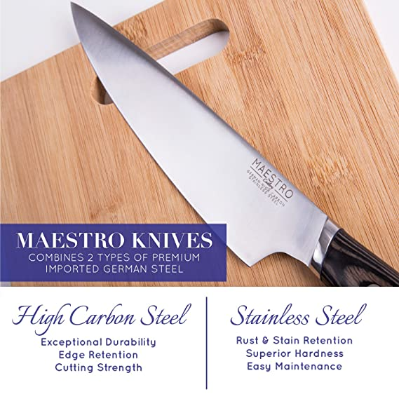 Amazon.com: Maestro Cutlery Volken Series German High Carbon Stainless Steel 8