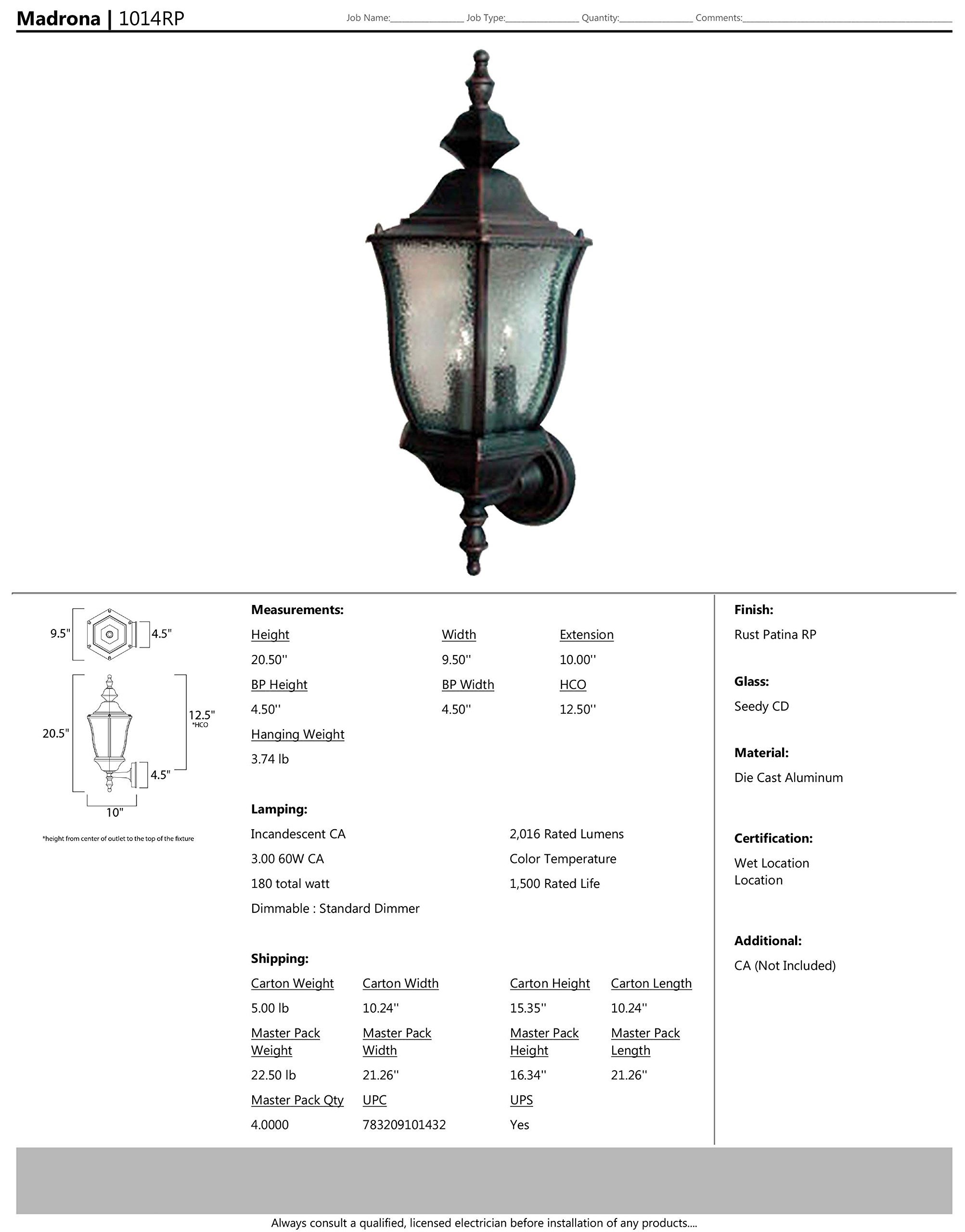 Maxim 1014RP Madrona Cast 3-Light Outdoor Wall Lantern, Rust Patina Finish, Seedy Glass, CA Incandescent Incandescent Bulb , 60W Max., Dry Safety Rating, Standard Dimmable, Frosted Glass Shade Material, Rated Lumens by Maxim Lighting (Image #2)