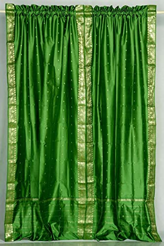 Lined-Forest Green 84-inch Rod Pocket Sheer Sari Curtain Panel India