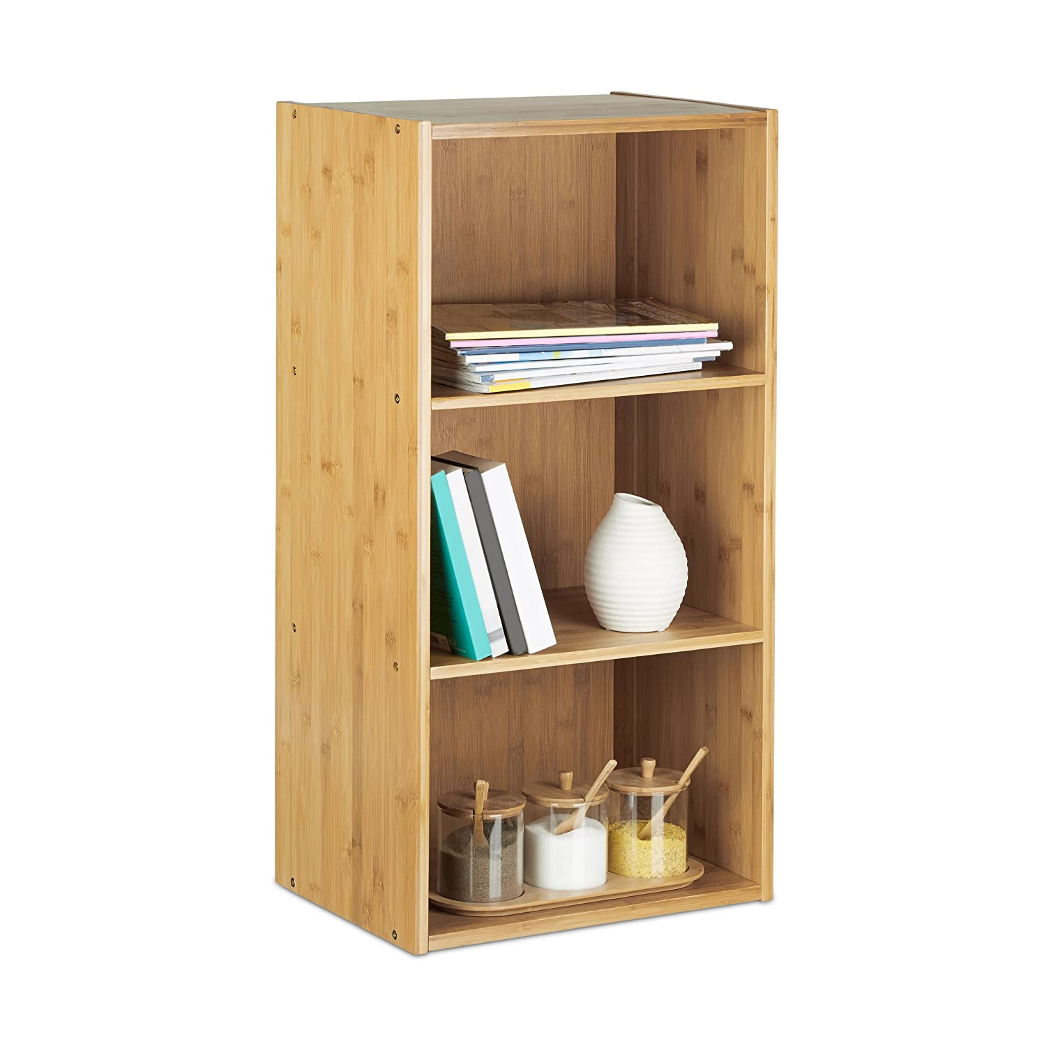 Relaxdays Bamboo Bookcase, 2 Shelves, HxWxD: 53.5 x 41.5 x 29.5 cm, Solid Shelving Unit, Freestanding, natural Brown 10020286_340