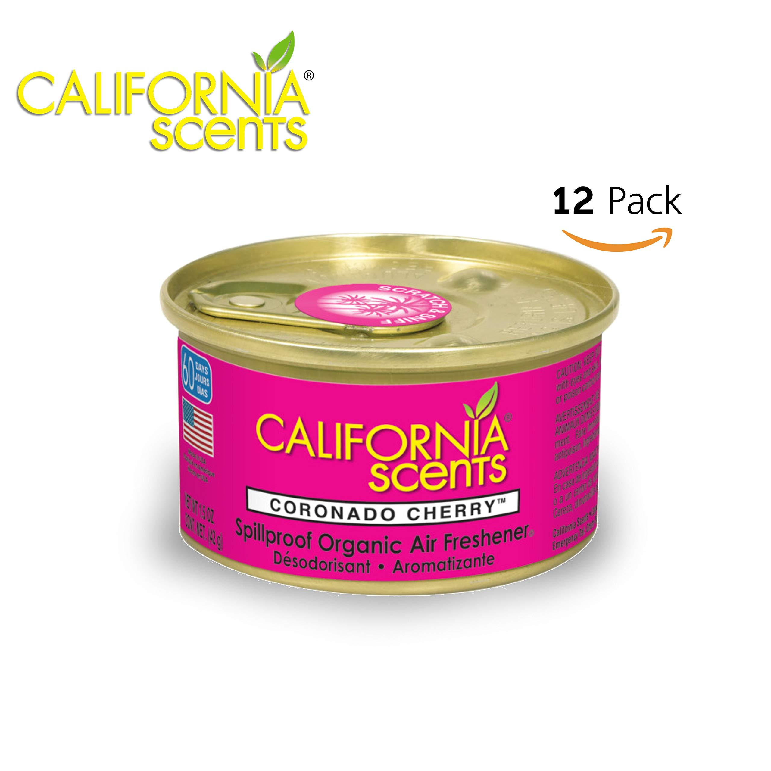California Scents Spillproof Can Air Freshener Eco-Friendly Odor Neutralizer for Home, Car, Much More, Coronado Cherry, 1.5 oz, 12 Pack by California Scents (Image #1)