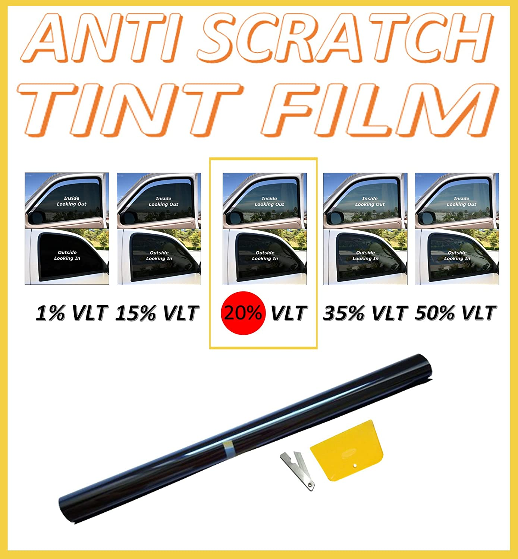 flexzon Anti-Scratch Professional Car Window Tint Film Dark Smoke Black 20% 76cm X 3M