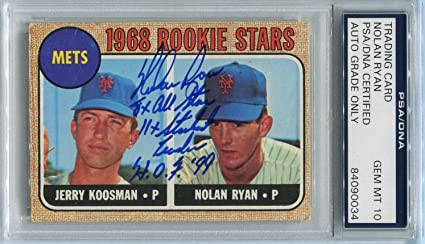 Nolan Ryan Signed 1968 Topps Rookie Card 177 Rc Graded Mint