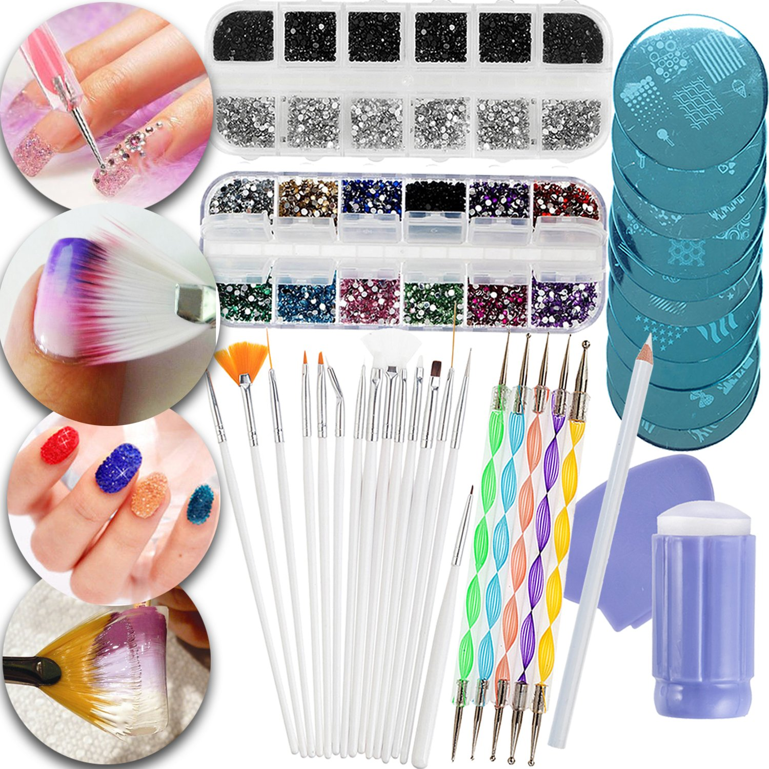 Nail Art Manicure Designs Set Including Rhinestones Crystals Decorations In Different Colors, Dotters Dotting Tools, Brushes, Stamping Plates Templates, Stamper, Scraper and Picker Pencil