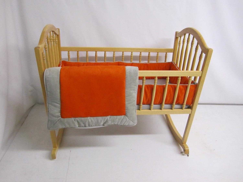 Baby Doll Bedding Zuma Cradle Bedding Set, Grey/Pumpkin by BabyDoll Bedding   B009S51S4A
