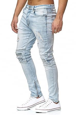 MEGASTYL Herren Jeans Biker Destroyed Zipper Hell Blau