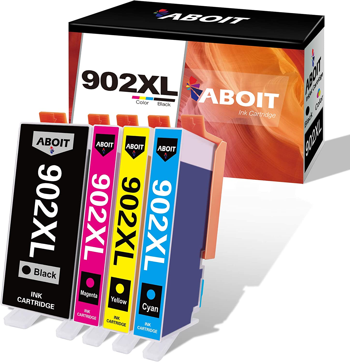 ABOIT Compatible Ink Cartridge Replacement for HP 902XL 902 XL Ink to use wtih Officejet Pro 6978 6968 6958 6960 6962 6954 Printers (Black, Magenta, Cyan, Yellow, 4 Pack)