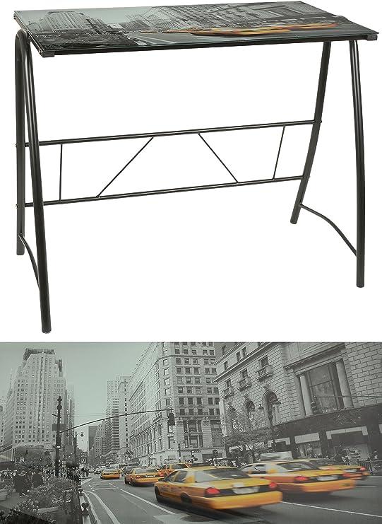 ts-ideen - Escritorio Mesa de café para ordenador metal y cristal ...