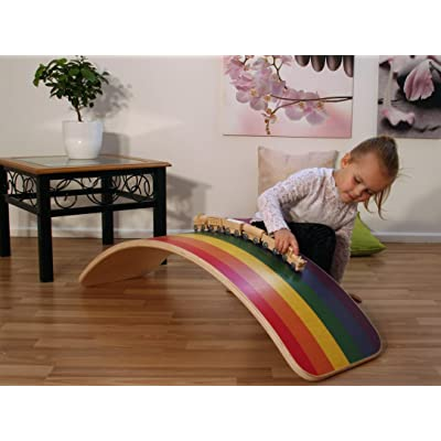 KateHaa Large Rainbow Wooden Balance Board, 41''| Eco Lacquer, Wobble Board, Express Shipping, Open Ended Toy, Yogaboard, Waldorf Balance Toy: Toys & Games