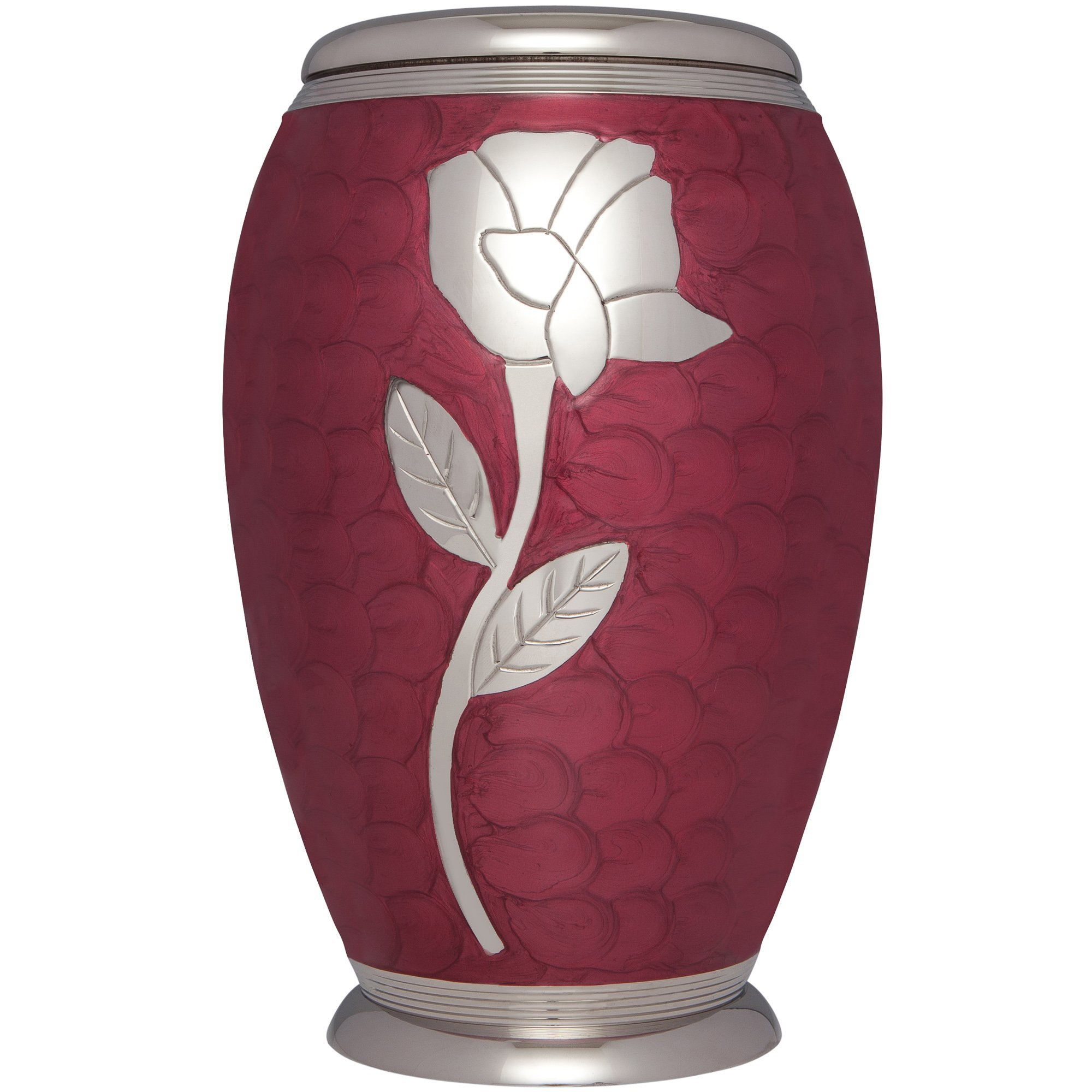 Funeral Urn by Liliane - Cremation Urn for Human or Pet Ashes - Hand Made in Brass & Hand Engraved - Display Urn at Home or in Niche at Columbarium -Talia Model (Red Enamel with Silver Flower,Adult) by Liliane Memorials