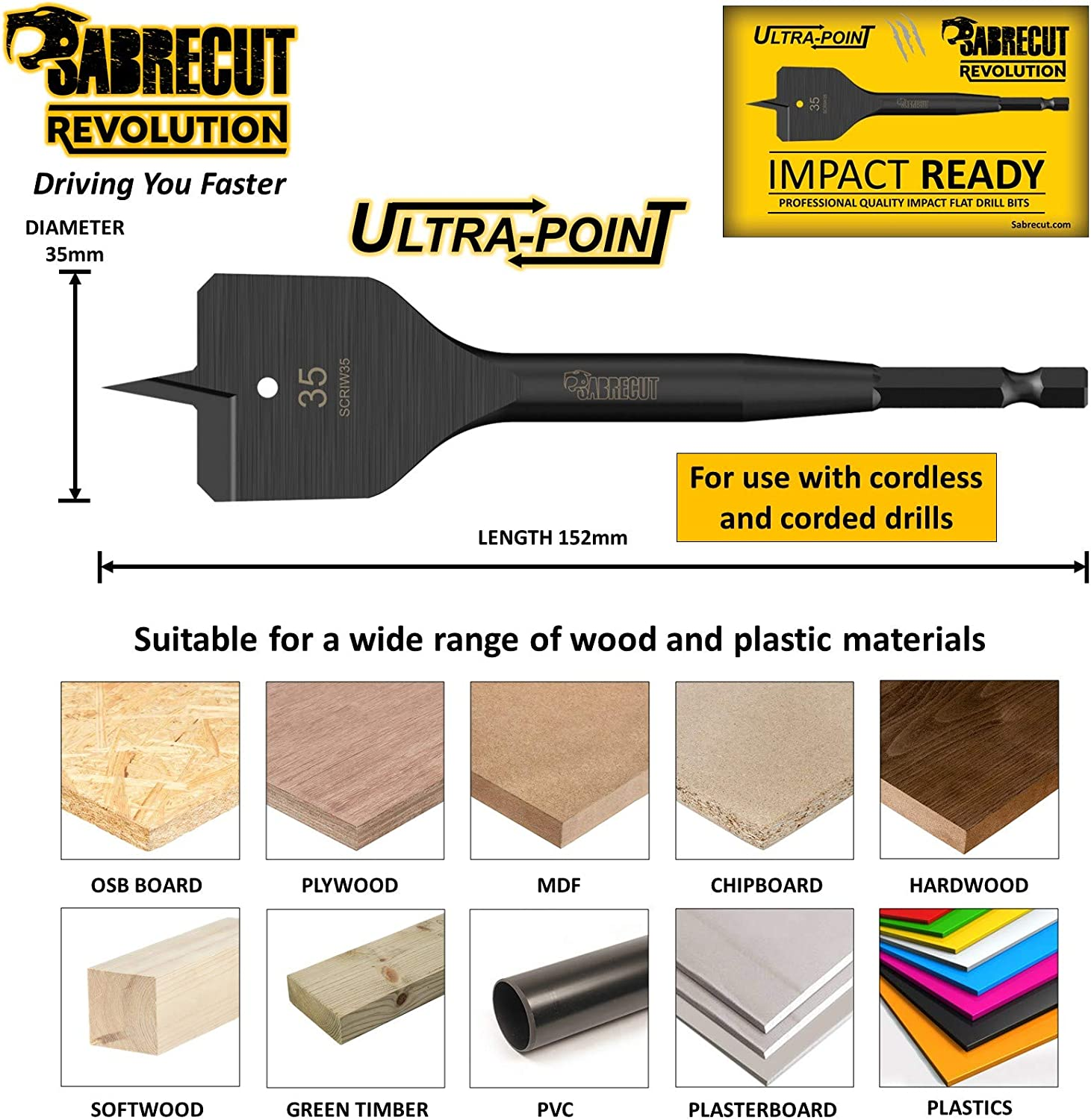 3 x SabreCut SCRIW35/_3 35mm x 152mm Impact Rated Flat Wood Spade Bits for Bosch Dewalt Makita Milwaukee and Many Others