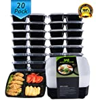 Amazon Price History for:Meal Prep Containers for Food Storage Divided 3 Compartment with Lids,Portion Control Bento Box Lunch Box Set-Reusable,Stackable,Microwave,Dishwasher and Freezer Safe,20 Sporks