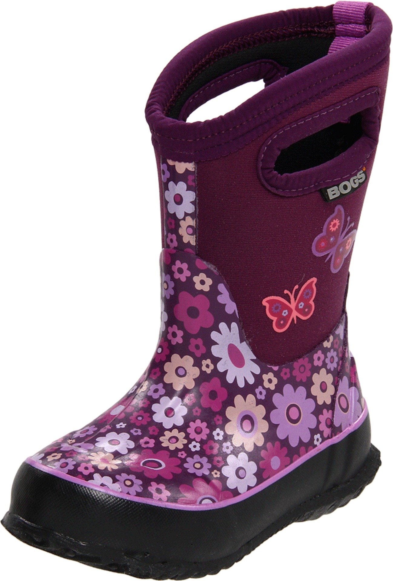 Bogs Classic High Waterproof Insulated Rubber Neoprene Rain Boot, Daisy/Purple/Multi, 6 M US Big Kid