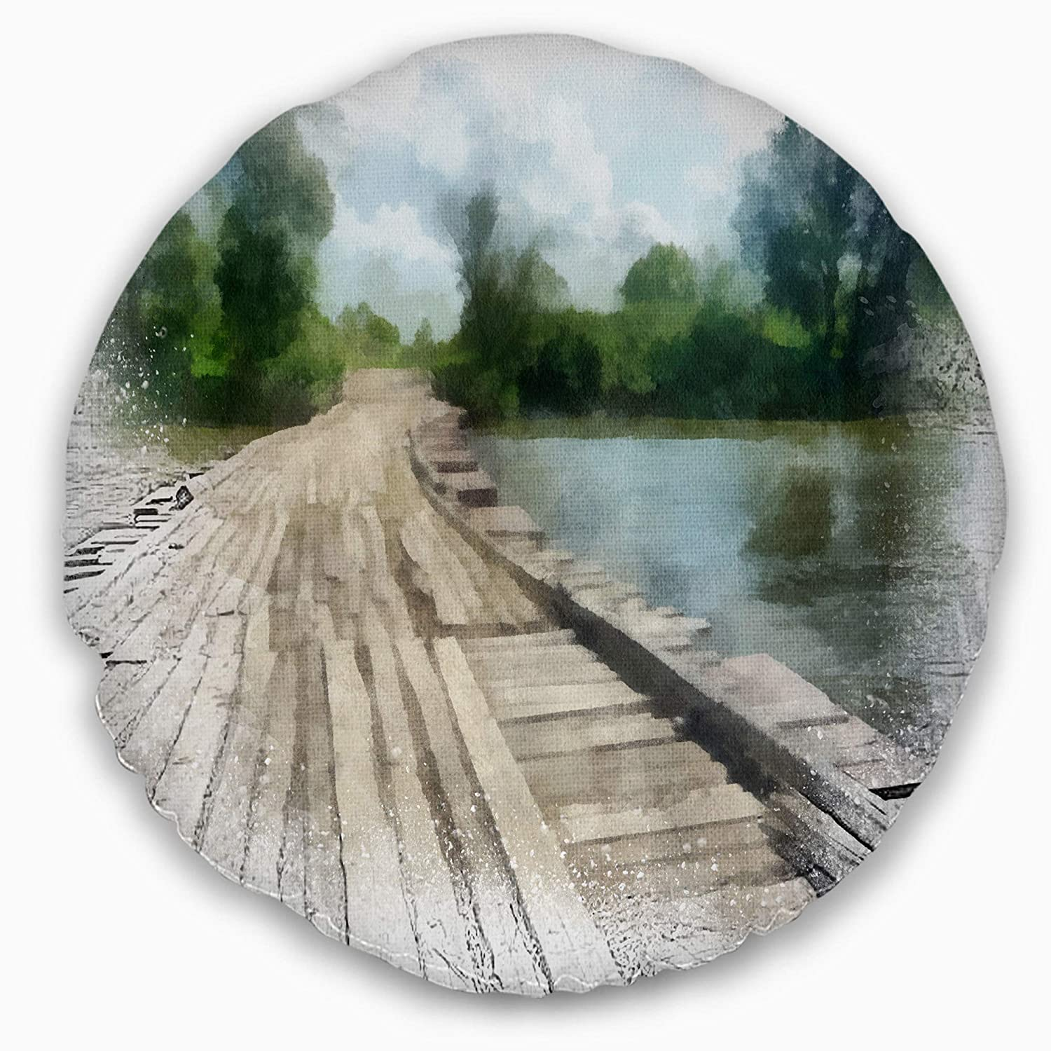 Designart CU13784-20-20-C Bridge Over Waterfall in Forest Landscape Printed Round Cushion Cover for Living Room Sofa Throw Pillow 20 Insert Side