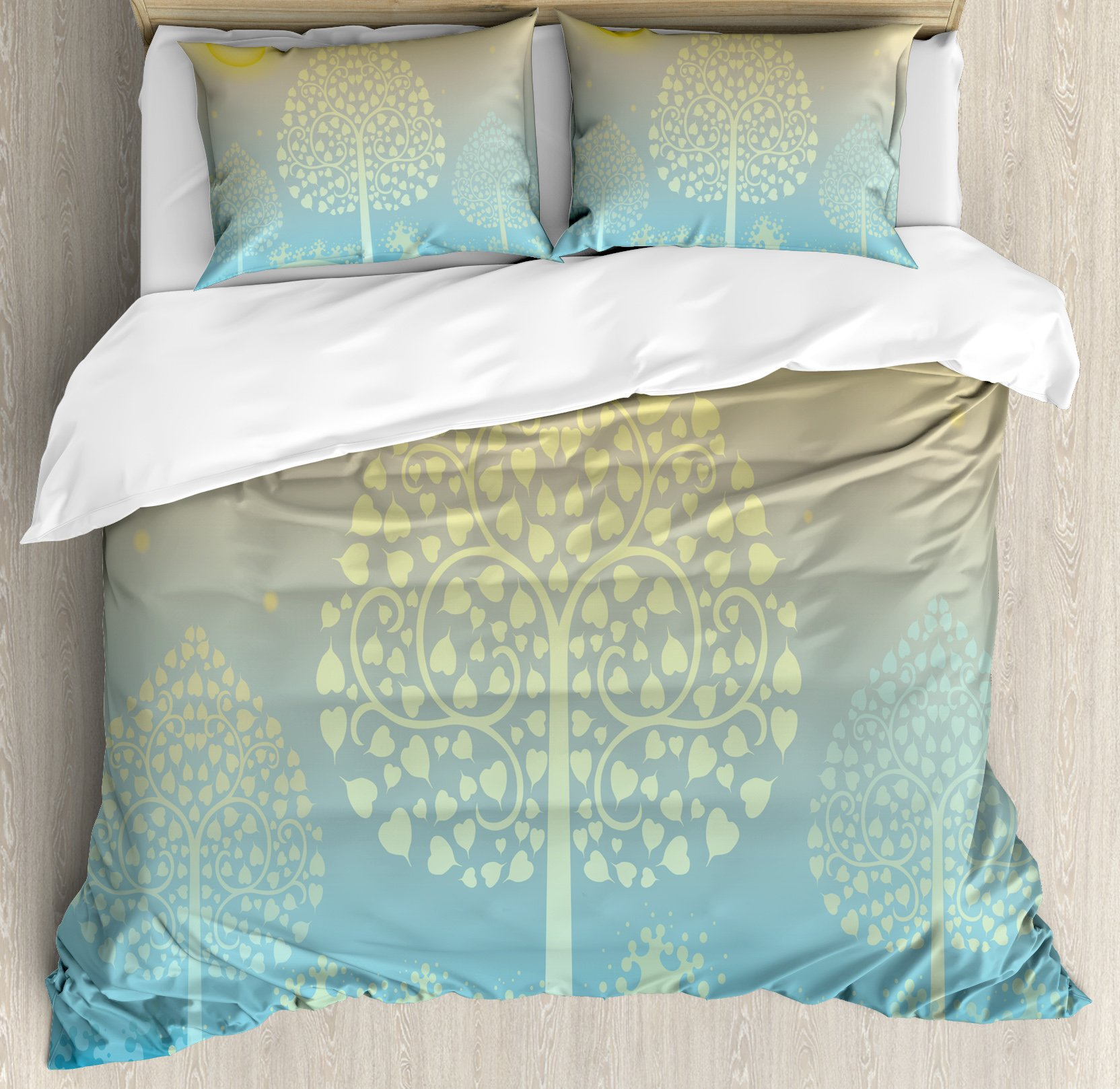 Art King Size Duvet Cover Set by Ambesonne, Thai Pattern Design Illustration of Gold Tree Oriental Culture Asia Eastern Ways, Decorative 3 Piece Bedding Set with 2 Pillow Shams, Gold Sky Blue by Ambesonne